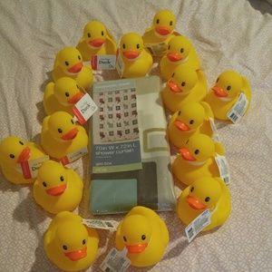 Rubber ducks & shower curtain.
